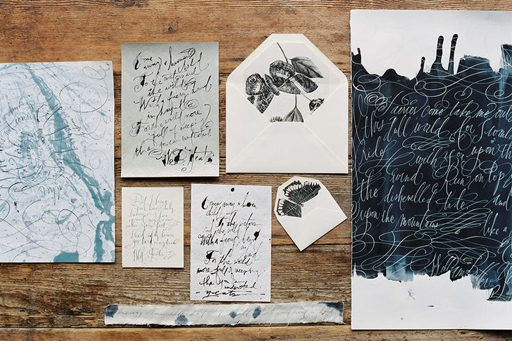 Oil marbling  |  Sumi ink  |  Collaging  |  Copperplate Wild & Ruling Pen Style Calligraphy