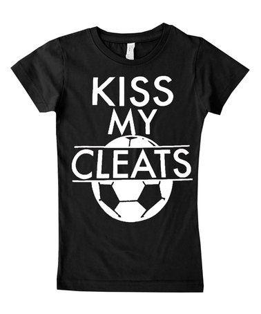 Black 'Kiss My Cleats' Tee - Infant, Toddler & Girls #zulily #zulilyfinds
