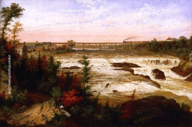 Cornelius Krieghoff The Tubular Bridge at St. Henry'a Falls, painting Authorized official website