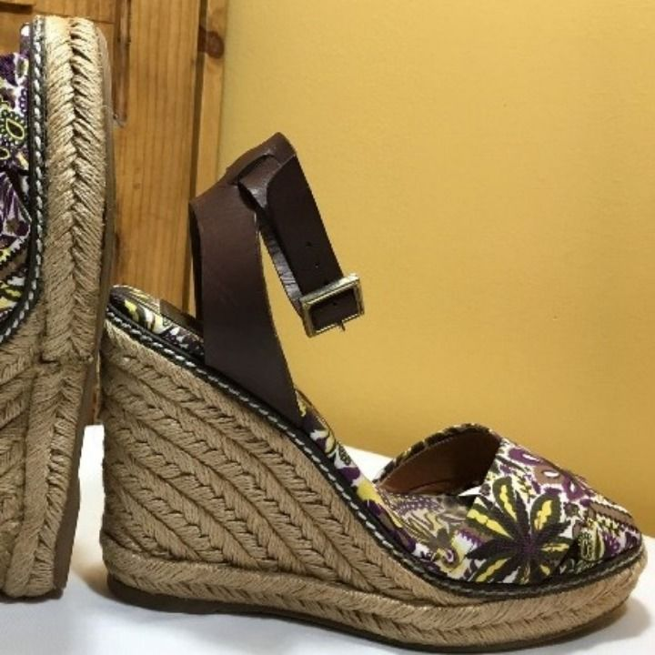 TORY BURCH Canvas Wedge Espadrilles