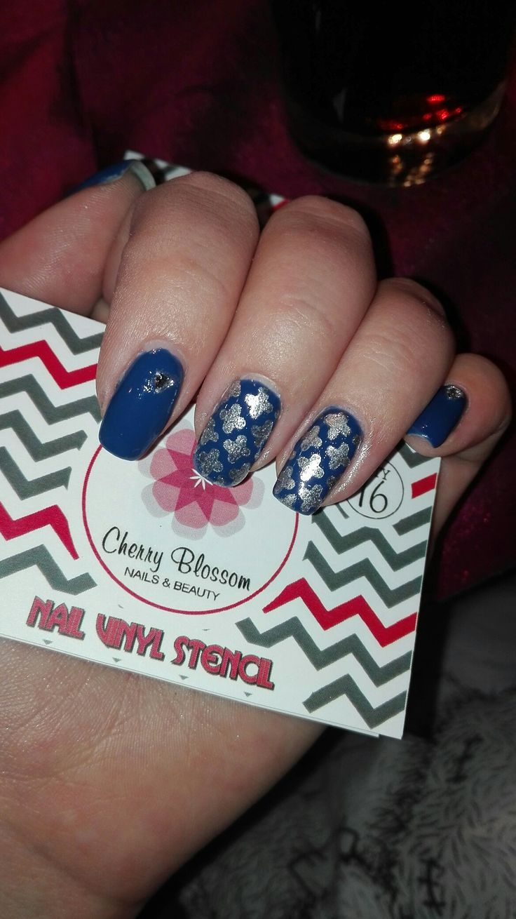 Deep blue with silver Moroccan stencils