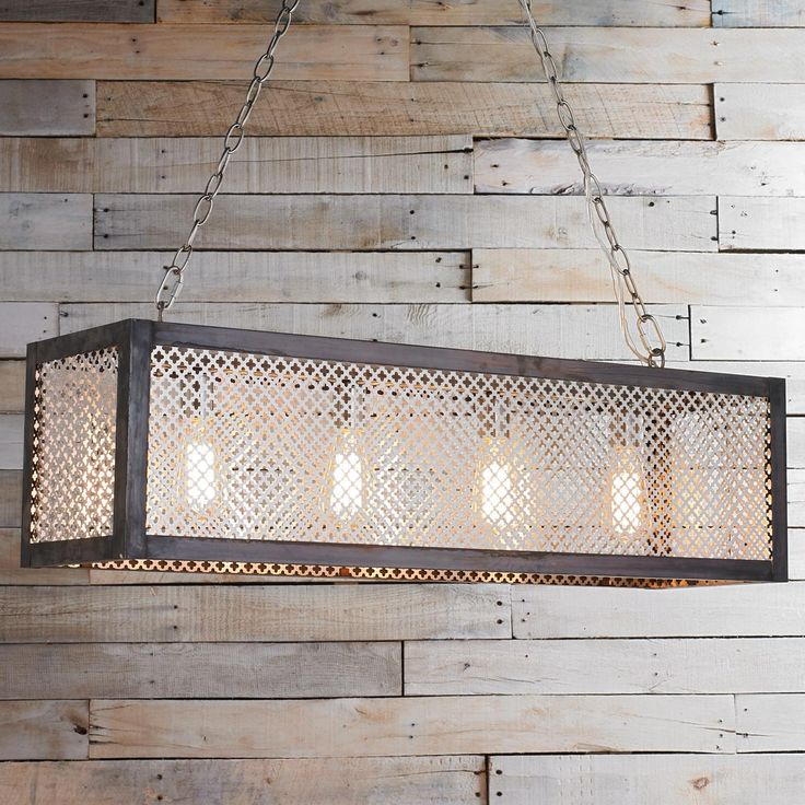 Radiator Grill Island Chandelier From industrial to traditional, this island or billiard chandelier is current and timeless. Our skilled inhouse metal workers craft this unique linear chandelier by pairing metal cutout quatrefoil geometric screen with darkened copper banding.