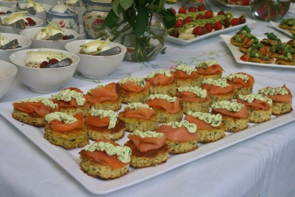 Zucchini Slice with Feta and Herbs sliced into rounds and topped with smoked salmon