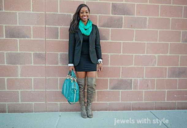 jewels with style, winter boots 2014, womens boots, otk boots, how to wear otk boots, over the knee boots, how to wear over the knee boots, otk boots outfit ideas, monica warren, black fashion blogger, how to wear a blazer, green hobo bag, green accessories, winter style idea, brown over the knee boots by @mreneedesign