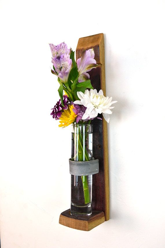 Amazing Wall Hanging Flower Holders  Short Version   100% Recycled Glass And Wine  Barrels # Good Ideas