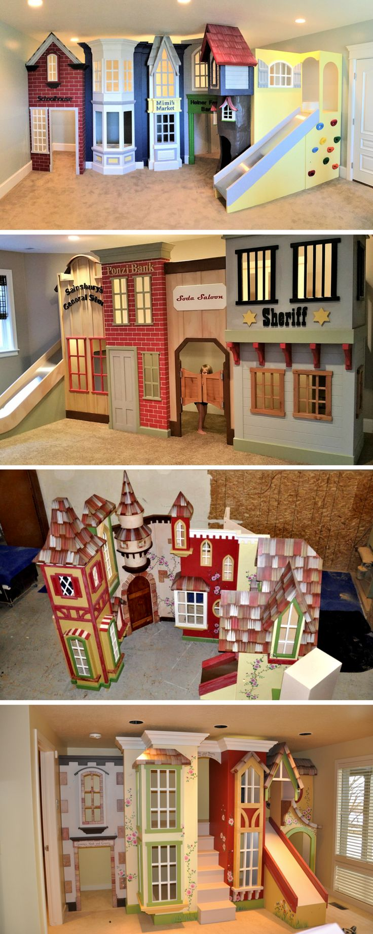 What child wouldn't love running around in their own indoor playhouse, especially if that was a village or Storefront Playhouse. At Tanglewood Design we have the best kid town designs around. Click to see our full selection.