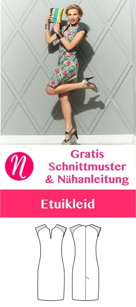Gratis Schnittmuster für ein pfiffiges Etuikleid in Gr. 36 - 46. Toll für den Sommer. Mit Nähanleitung ❤ Nähtalente - Magazin für kostenlose Schnittmuster ❤