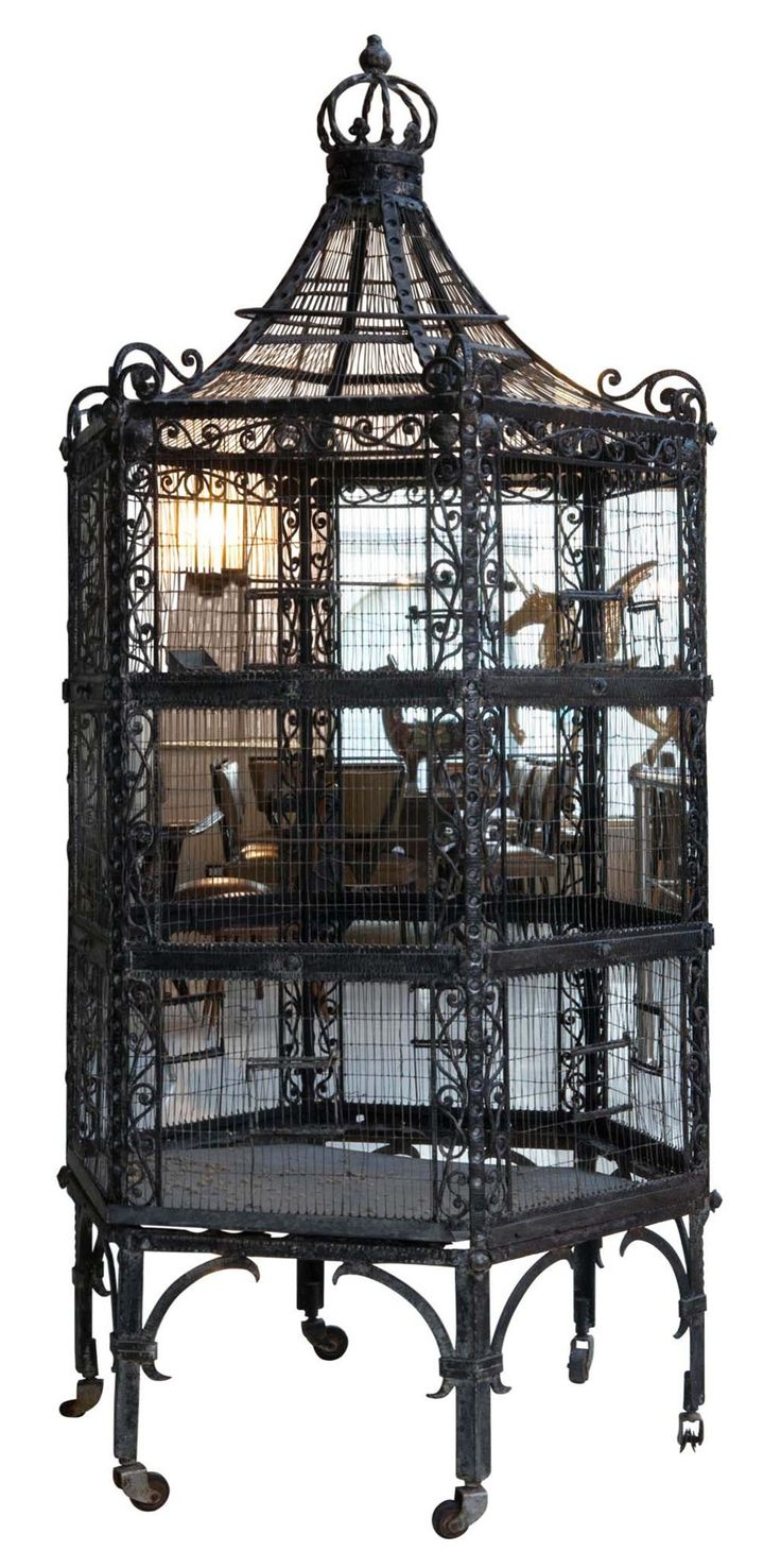 Fabulous Art Nouveau Wrought Iron Birdcage. They just don't make things this beautiful anymore.