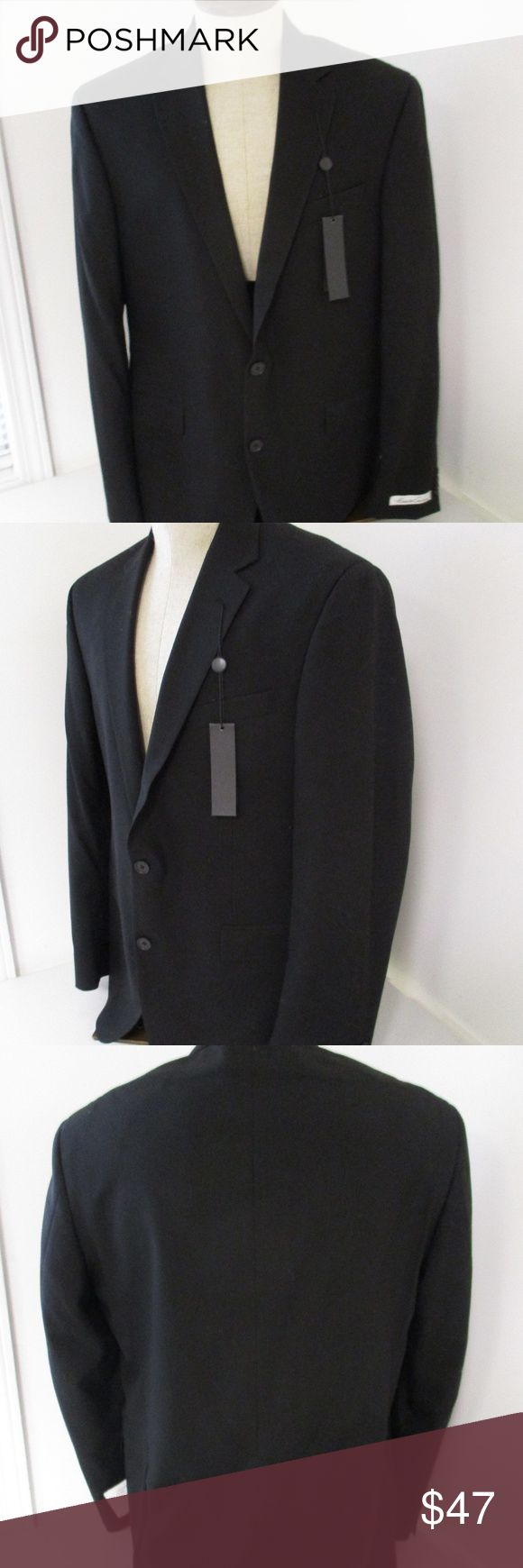 Kenneth Cole NWT Men's Black Slim Fit Blazer 42R New Kenneth Cole Jacket Size 42R W36 100% Wool Imported Dry Clean Only 2 button, side vent New condition with tag attached. Jacket only. No pants Kenneth Cole Suits & Blazers Sport Coats & Blazers