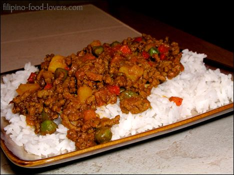 Giniling Over Rice (Filipino food)