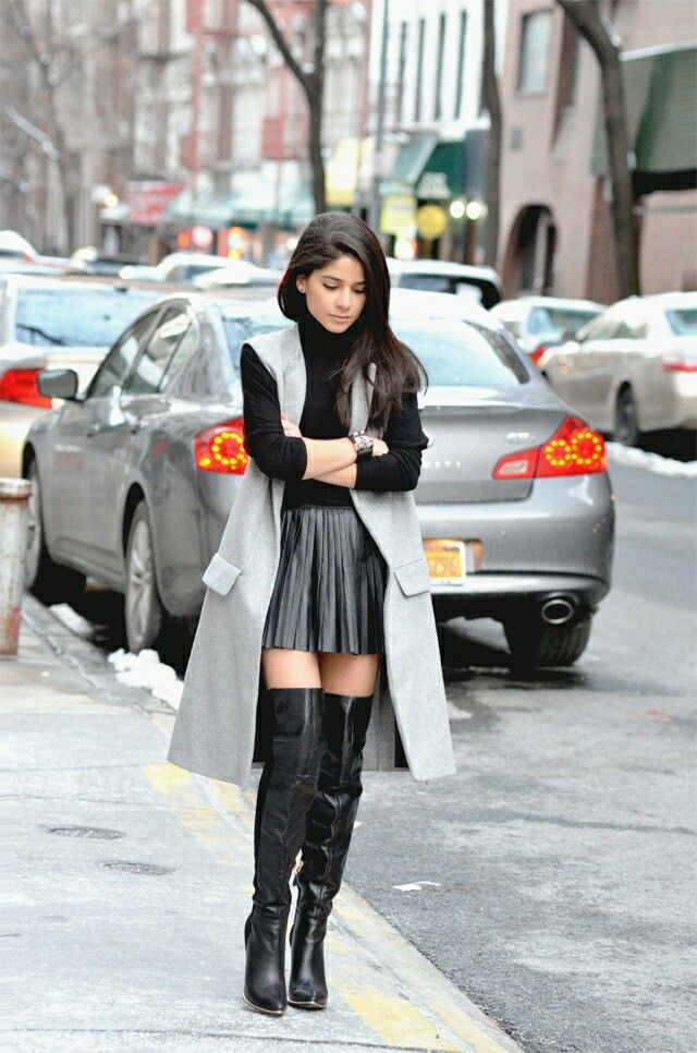 Winter Outfit with superb black OTK Boots