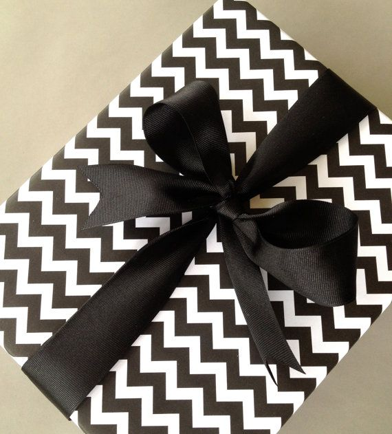Black Chevron Premium Wrapping Paper by Paperjacks on Etsy, $7.99