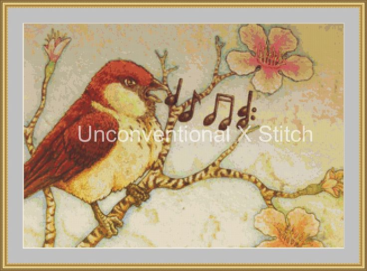 Sing song bird cherry blossom cross stitch pattern - mini by UnconventionalX on Etsy