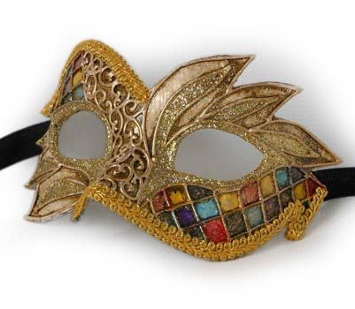 Arlecchino ali V29 - Maschera  originale veneziana realizzata interamente a mano, in cartapesta e decorata con colori acrili, glitter e bordo in macramè.
