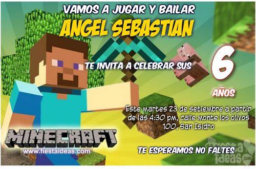 Minecraft invitaciones de cumpleaños para imprimir