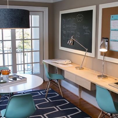 Study Room Design Ideas, Pictures, Remodel, and Decor Chalkboard above desk - perhaps whiteboard? Cork board?