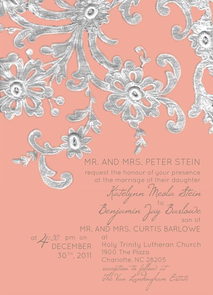 Invitation designed by www.codeartwebstudio.com #weddinginvitation #wedding #invitation #lace #peach #silver