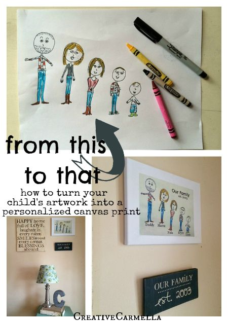 Such a cool trick! I never thought of printing on tissue paper!! DIY Canvas Art- Turn Kid Art into a Personalized Canvas ~ Or so she says...