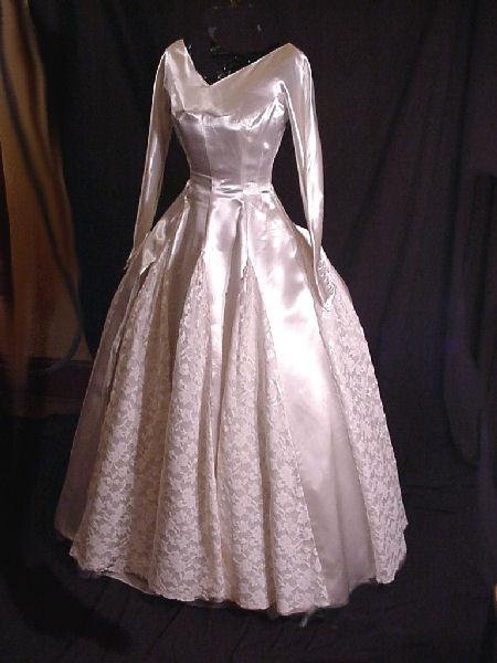 Classic 1950's tea-length satin & lace wedding dress.