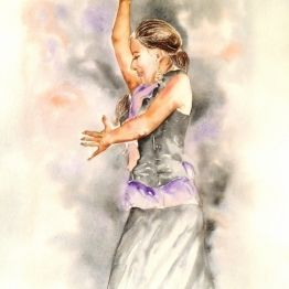 vente aquarelle Flamenca del Sacromonte