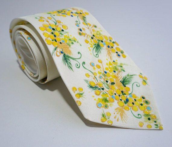 Cravate bijou collier en Soie peint main  Mimosa