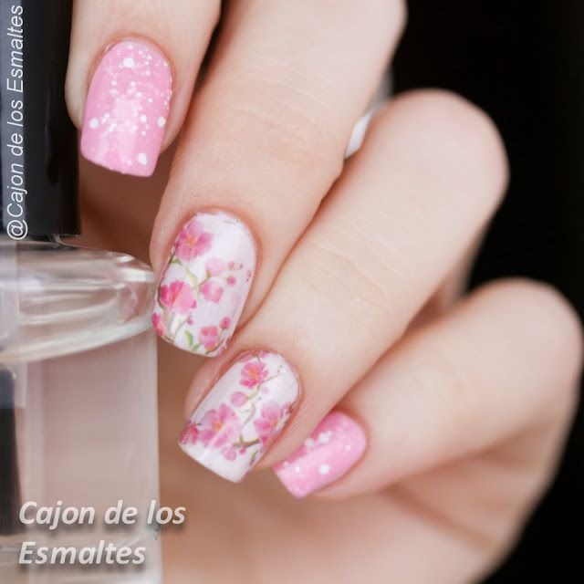 Uñas decoradas - Flores de cerezo http://www.ladyqueen.com/12-floral-sheet-beautiful-peach-plum-blossom-transfer-print-sticker-nail-art-water-decals-na0810.html