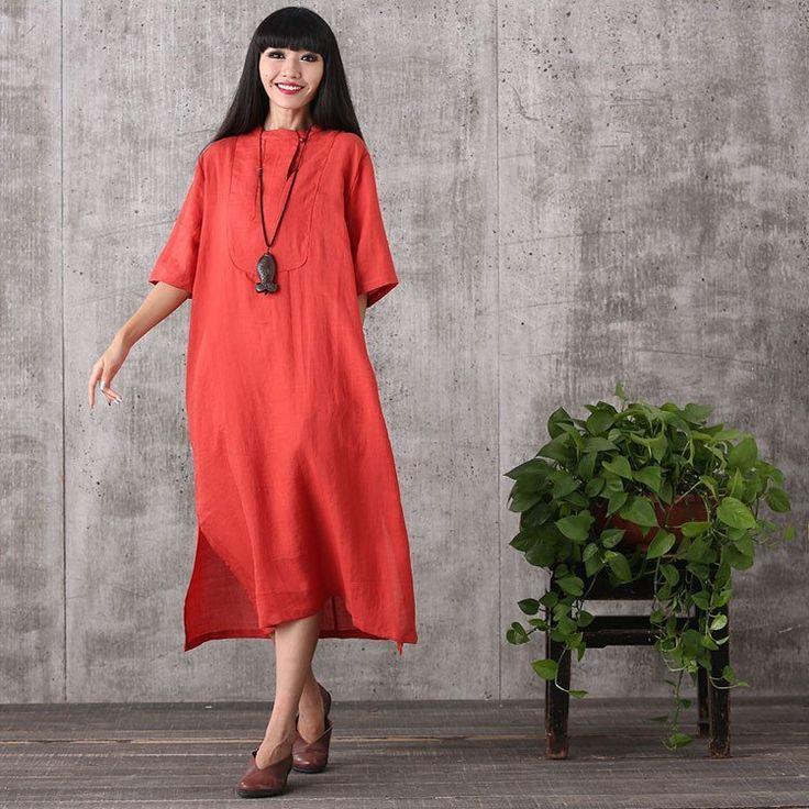 Dress - Women Summer Retro Style Loose Cotton Linen Dress