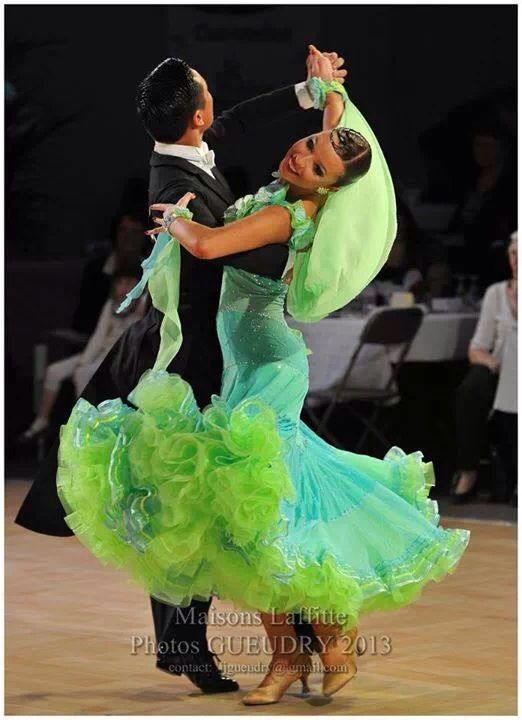 Ballroom gown with full skirt in shades of green. Love it!