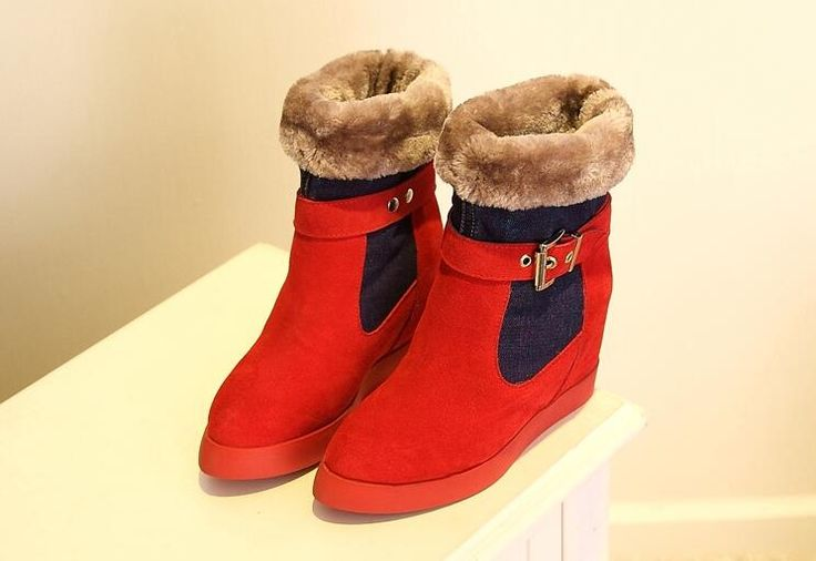 82.15$  Watch now - http://alih6r.shopchina.info/1/go.php?t=32778202614 -  2014 Autumn Winter New Snow botas rojas Denim Boots Plush tall boots Inner Increased In High Heels Cotton wedges women  #buyonlinewebsite
