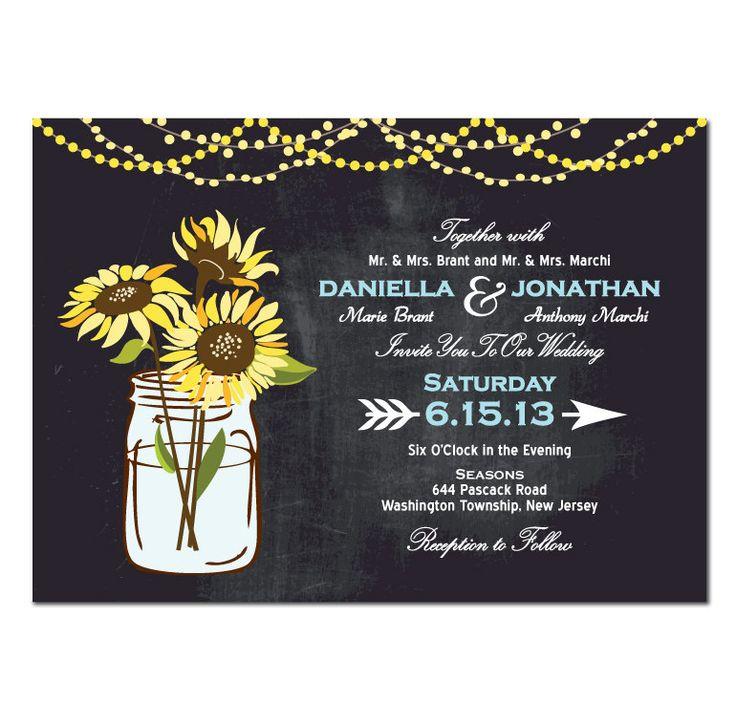Diy Chalkboard Wedding Invitations: Sunflower Wedding Invitation DIY PRINTABLE By