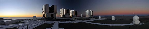 """Supermoon and Regular SunCredit: G. Hüdepohl (atacamaphoto.com)/ESOThis panoramic photograph captures the so-called """"supermoon"""" as seen from Cerro Paranal in Chile, home of ESO's Very Large Telescope (VLT), rising at the same time the sun sets to the left over the Pacific Ocean."""