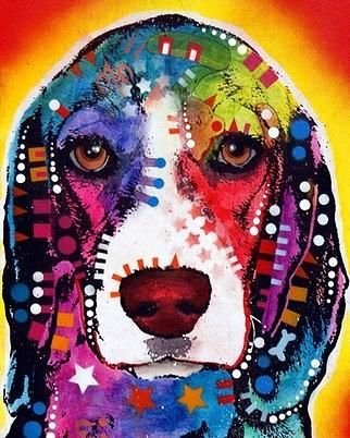 dean Russo Painting Dog Dogs Portrait Graffiti pop Art Pet Pets Pop Beagle Beagles Painting - Beagle by Dean Russo