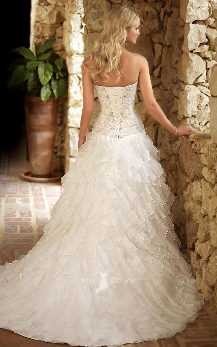 ruffled wedding dresses | Sweetheart A-line Beaded Embroidered Bodice Ruffle Skirt Wedding Dress