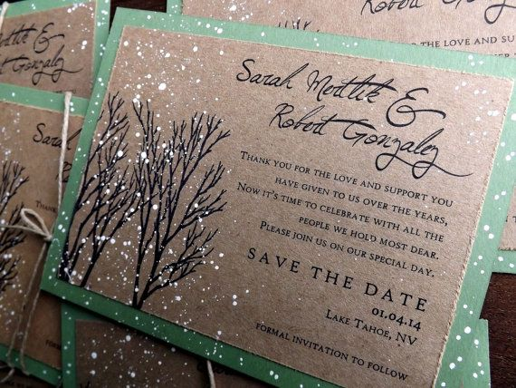 Winter Wedding Save The Date Hand Painted Snow By Everafterpapery 3 75