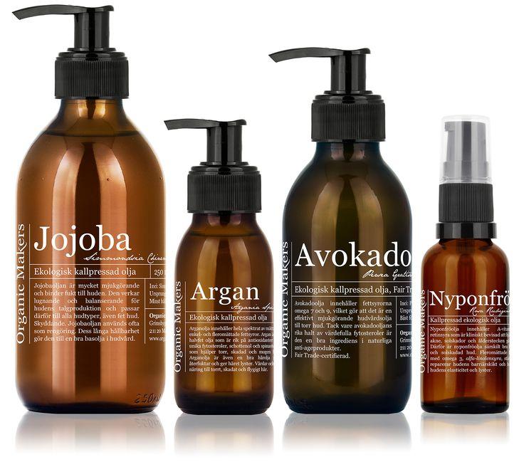 Använd rena ekologiska oljor som hudvård: Guide! Lär dig allt om vilka oljor som passar till just din hud i Organic Makers receptblogg.