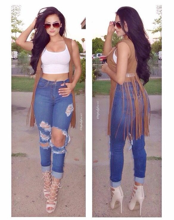 Fringe Vest With Crop Top And High Waisted Jeans | High Heeled Outfits | Pinterest | Clothes ...