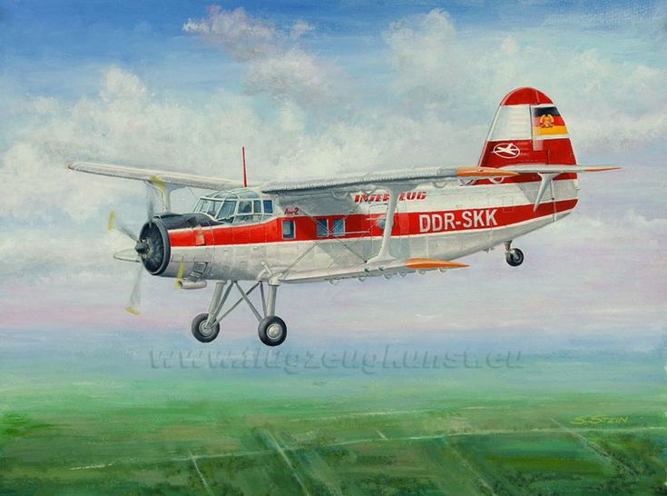 Antonov An-2T, Interflug GDR (East Germany). July 12, 1958 after conversion to a passenger version used by  the German Lufthansa of the GDR.  From 1963 used by  the Interflug . 1982 Installation of aerial imaging equipment . Gouache, 48 x 36cm; www.flugzeugkunst.eu