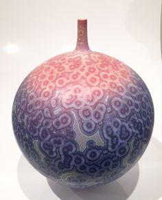 Ted Secombe, Matt Crystal blue and orange round vase