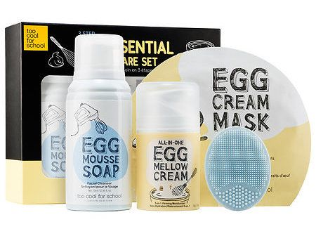 Too Cool For School's Egg-ssential Skincare Set covers the skincare basics: cleansing, treating and moisturizing. | 36 Amazing New Beauty Products You Really Need To Try