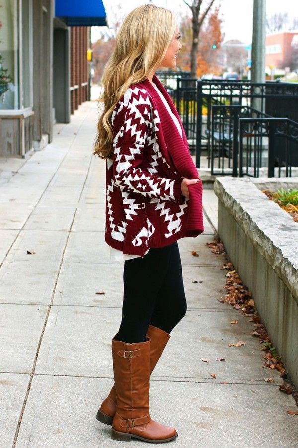 knitted aztec sweater Women fashion clothing outfit style pants black boots brown blond autumn casual street
