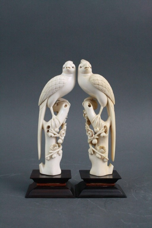 Pair Of Chinese Ivory Finely Carved Phoenix Birds Ivory Carvings Pinterest Phoenix Bird