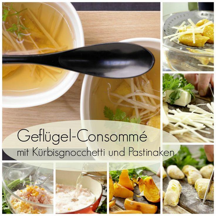 Leichte Hühnerbrühe mit raffinierter Einlage: Geflügel-Consommé – smarter mit Kürbis-Gnocchetti und Pastinaken | http://eatsmarter.de/rezepte/gefluegel-consomme-smarter