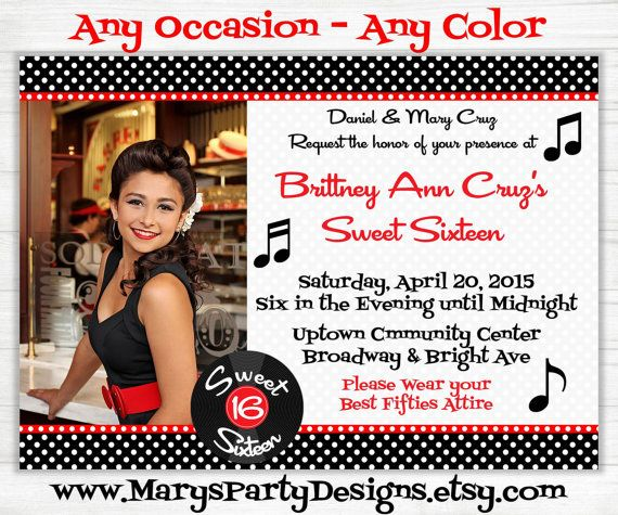 Any Occasion  Fifties Printable Invitation by MarysPartyDesigns, $15.00