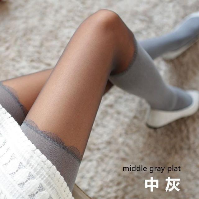 Women Autumn Slim Tights Stitching False High Tube Pantyhose Sexy Thin Hemp Gray Horizontal Striped Stockings