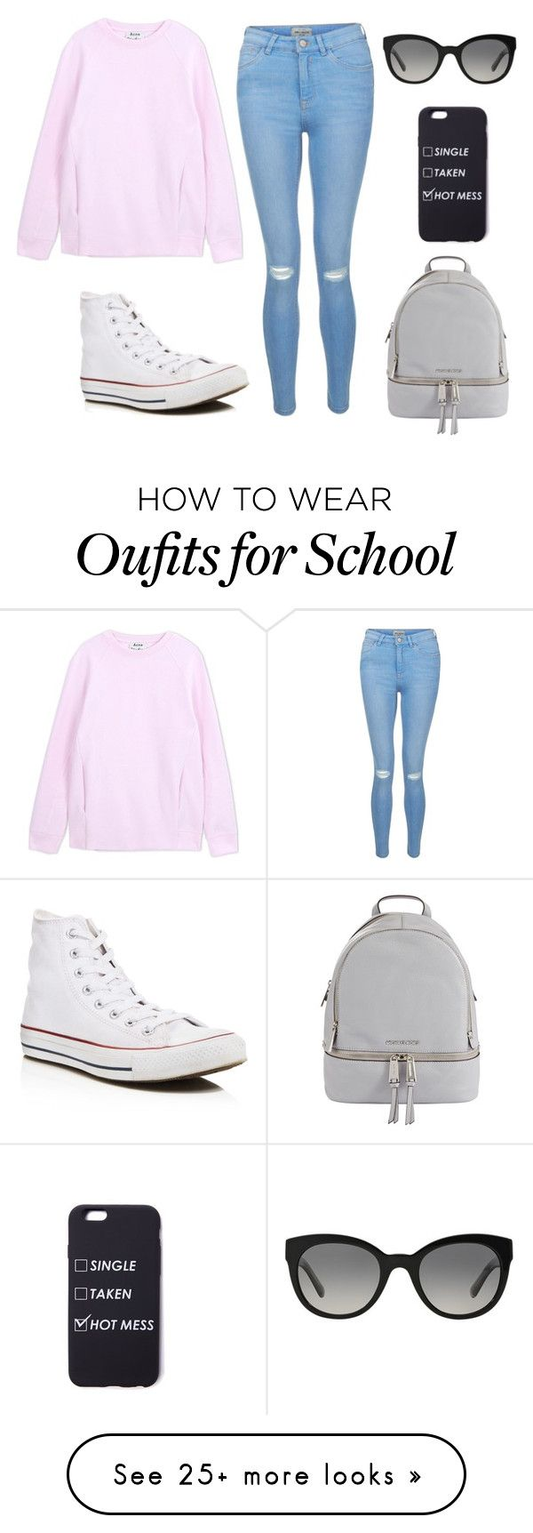 """Day at school"" by ally-sjo on Polyvore featuring New Look, Converse, Acne Studios, Burberry and MICHAEL Michael Kors"
