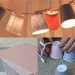 DIY Decorative Paper Cups Garland Lights - with cute cups, you wouldn't even need to cover them with paper