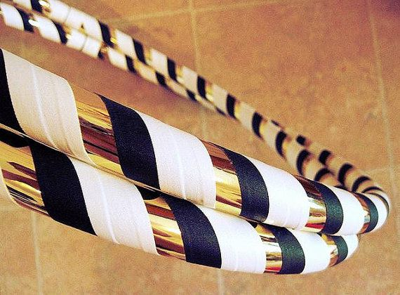 WEIGHTED Hula Hoop - Night On The Town - Collapsible Travel Beginner Hoop - gold, black, white