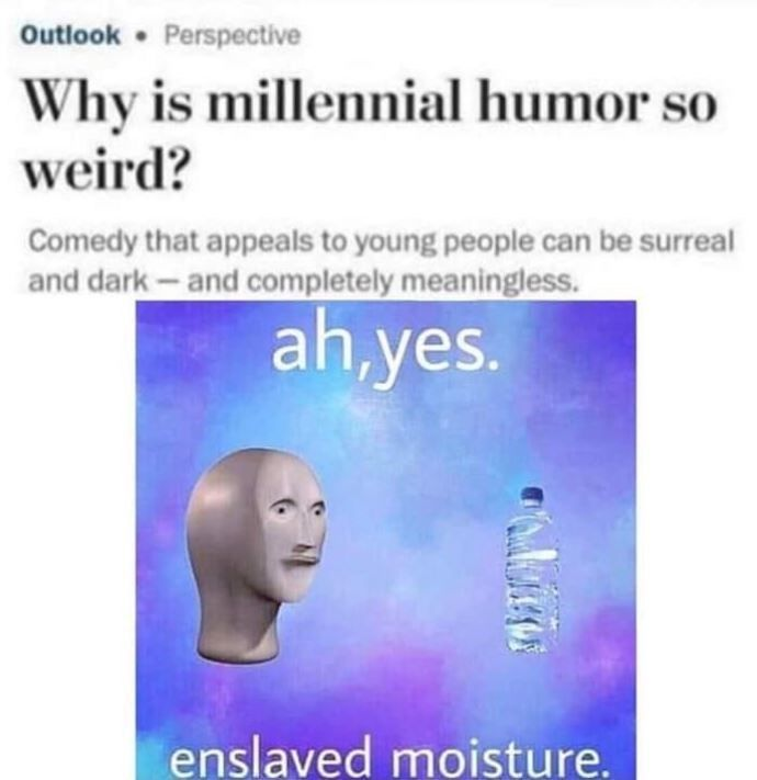 Enslaved Moisture Memes Are The Epitome Of Bizarre Millennial Humor Millennials Funny Stupid Memes Funny Memes