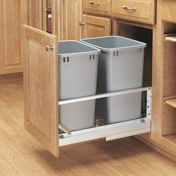 SO NOT going to pay that much though...  @Overstock - Maximize storage with double 35-quart pull-out waste containers. A rear compartment for extra storage, a door-mount kit, and easy installation add even more convenience to the pull-out waste containers.  http://www.overstock.com/Home-Garden/Premiere-Double-35-quart-Silver-Pull-out-Waste-Containers/6455358/product.html?CID=214117 $226.20