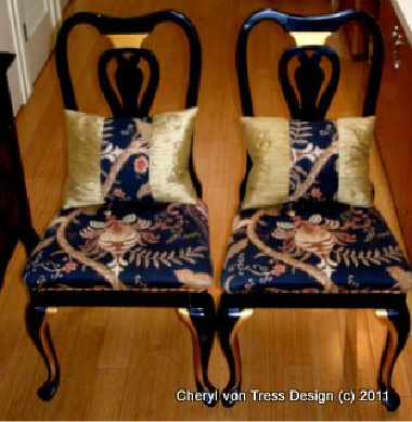 Redone chairs. Keep an eye out at yard sales & auctions for old chairs that can be redone like this.